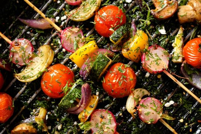 Delicious and healthy vegan skewers